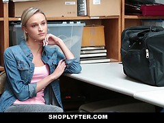 Sexy cute shop lifter chick Emma Hix gets banged by the big cock of an LP officer after getting caught shop lifting some goods at a local store.